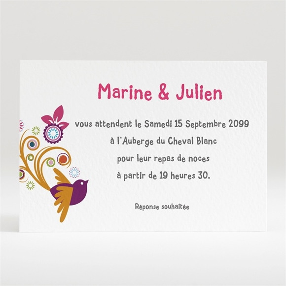 Carton d'invitation mariage réf. N12058 réf.N12058