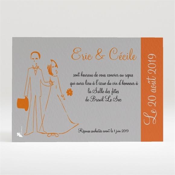 Carton d'invitation mariage Annonce en gris et orange réf.N12001