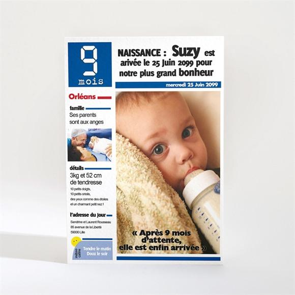Faire-part naissance Journal 9 mois original réf.N21007