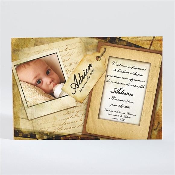 Faire-part naissance Vieux Parchemin vintage réf.N11010