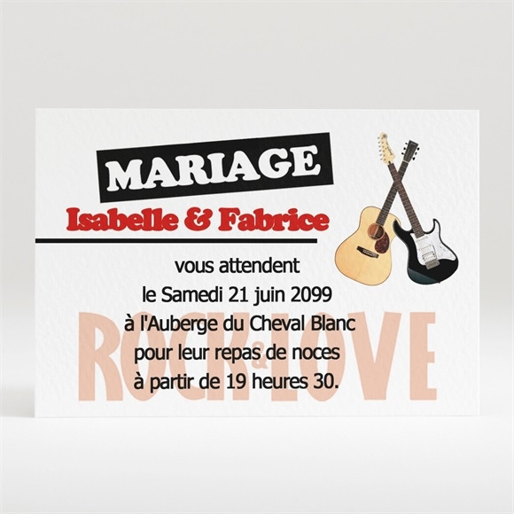 Carton d'invitation mariage Rock and Love réf.N12051
