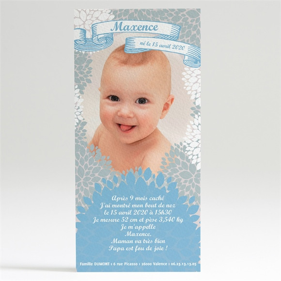 Faire-part naissance Gris et Bleu réf.N22004