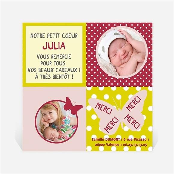 Remerciement naissance Cadre Papillon réf.N30009