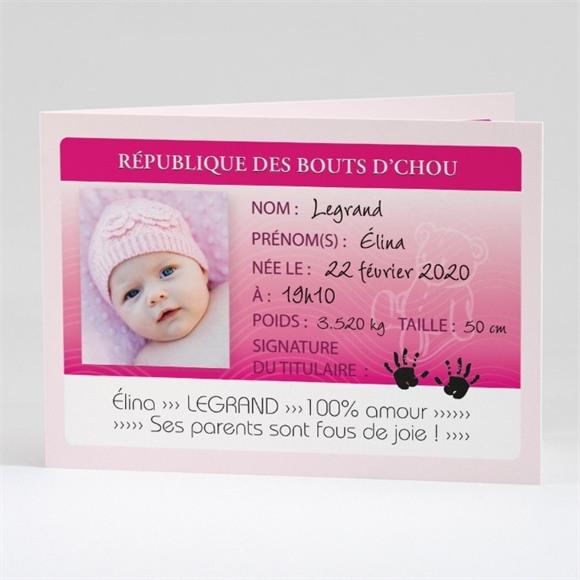 Faire-part naissance Ma Petite pièce d'identité réf.N42104