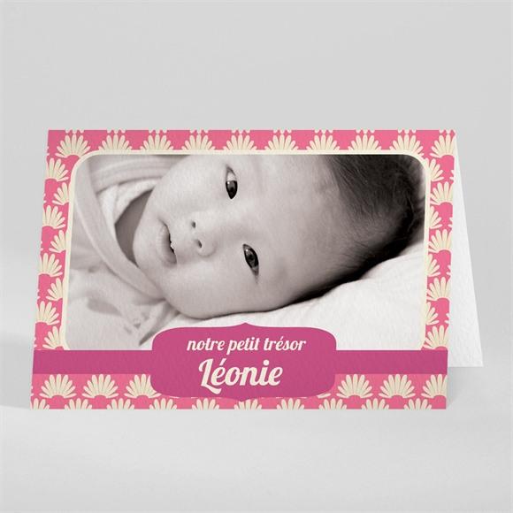 Faire-part naissance Avec motifs rose réf.N41003