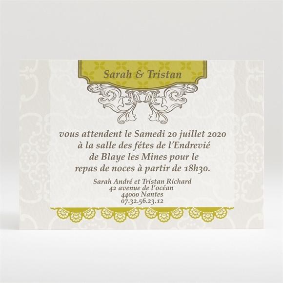 Carton d'invitation mariage Jaune poussin réf.N12082