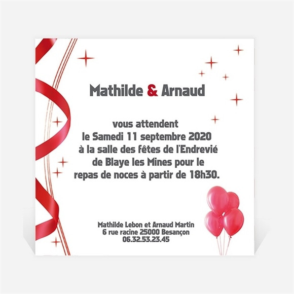 Carton d'invitation mariage En action réf.N30014