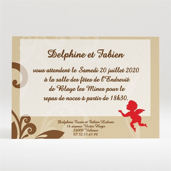 Carton d'invitation mariage Nos anges réf.N12085
