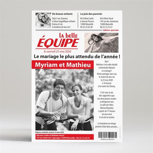 Faire-part mariage La Belle Equipe réf.N24002
