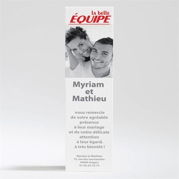Remerciement mariage La Belle Equipe réf.N20036