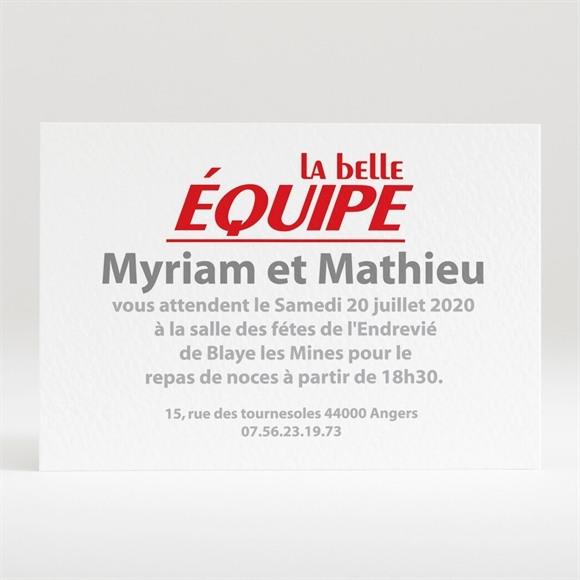 Carton d'invitation mariage La Belle Equipe réf.N12087