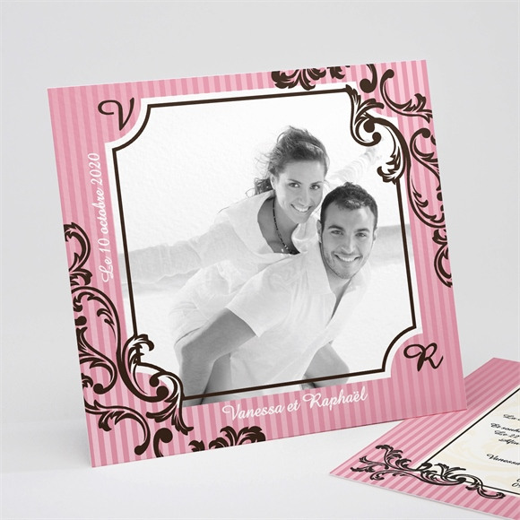 Faire-part mariage Carte baroque rose réf.N31113