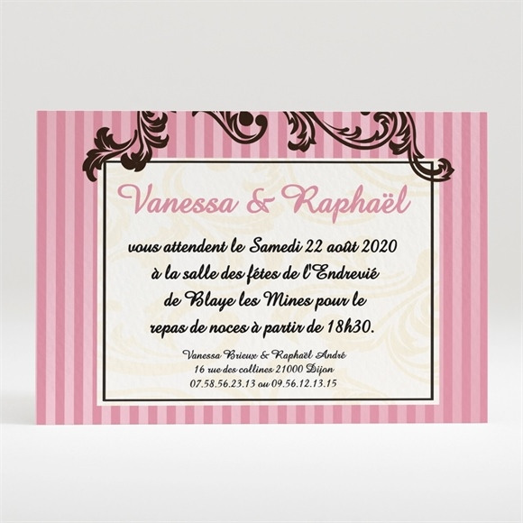 Carton d'invitation mariage Carte baroque rose réf.N12094