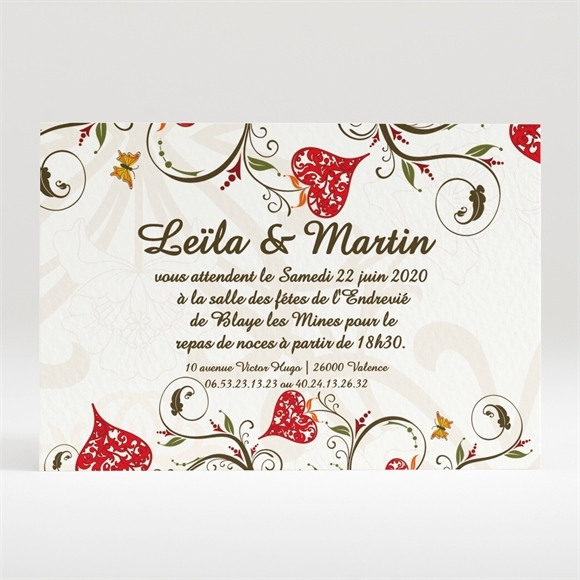 Carton d'invitation mariage réf. N12093 réf.N12093