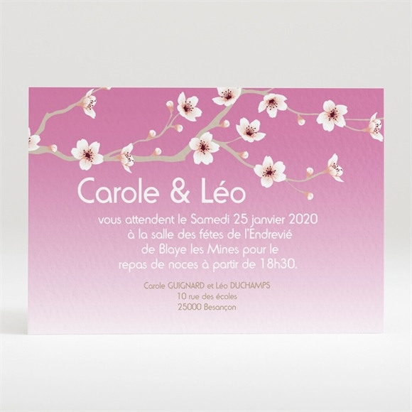 Carton d'invitation mariage Jolie carte invitation mariage réf.N12095