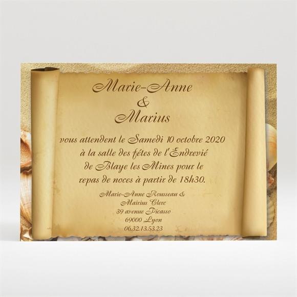 Carton d'invitation mariage Parchemin vintage réf.N12099