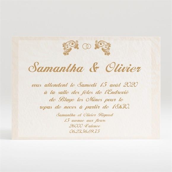 Carton d'invitation mariage Beige et blanc réf.N12098