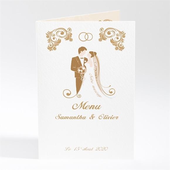 Menu mariage Beige et blanc réf.N40150