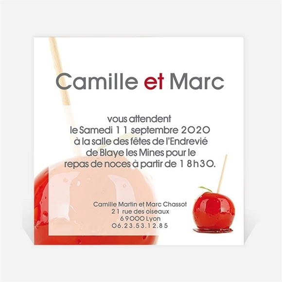 Carton d'invitation mariage I love you réf.N30015