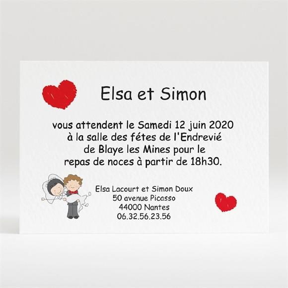 Carton d'invitation mariage Les 2 mariés illustrés réf.N120103