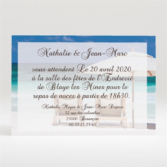 Carton d'invitation mariage Sable fin et mer turquoise... réf.N120102