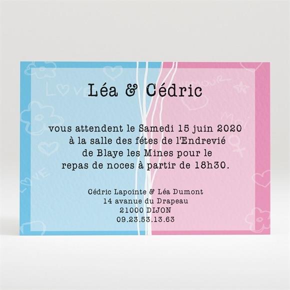 Carton d'invitation mariage Un gars une fille se marient ! réf.N12097