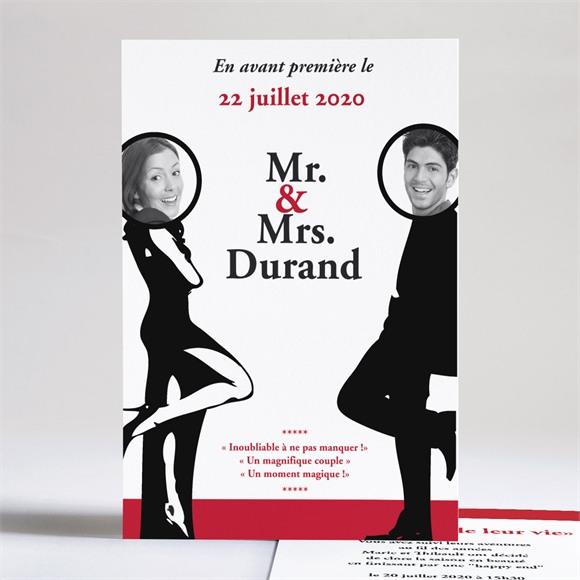 Faire-part mariage Mr & Mrs réf.N24106