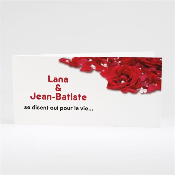 Faire-part mariage Roses rouge et perles réf.N43104