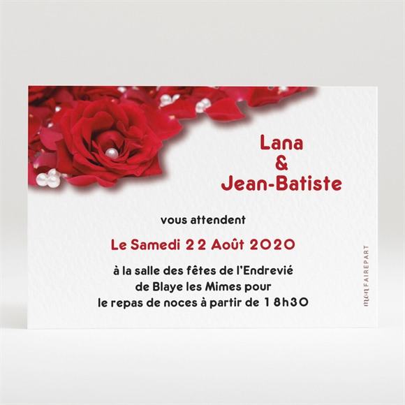 Carton d'invitation mariage Roses rouge et perles réf.N120106