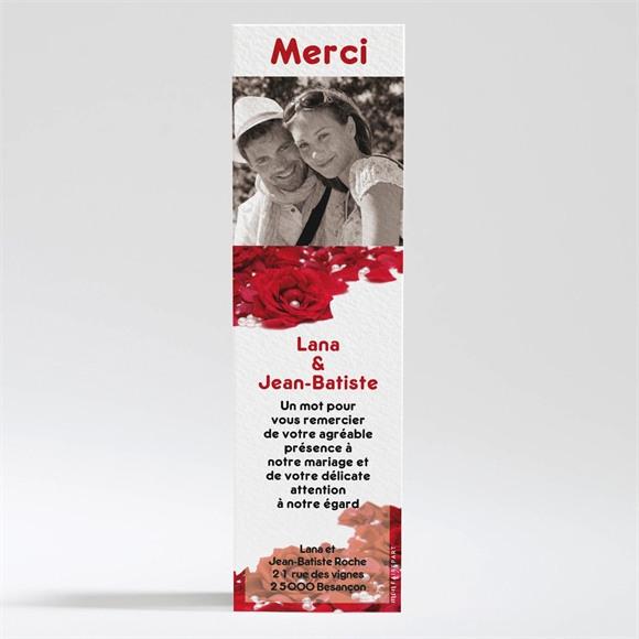 Remerciement mariage Roses rouge et perles réf.N20056