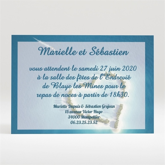 Carton d'invitation mariage Eaux turquoises réf.N120100