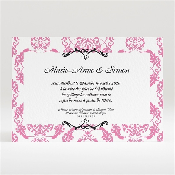 Carton d'invitation mariage Tenue de Gala réf.N120108