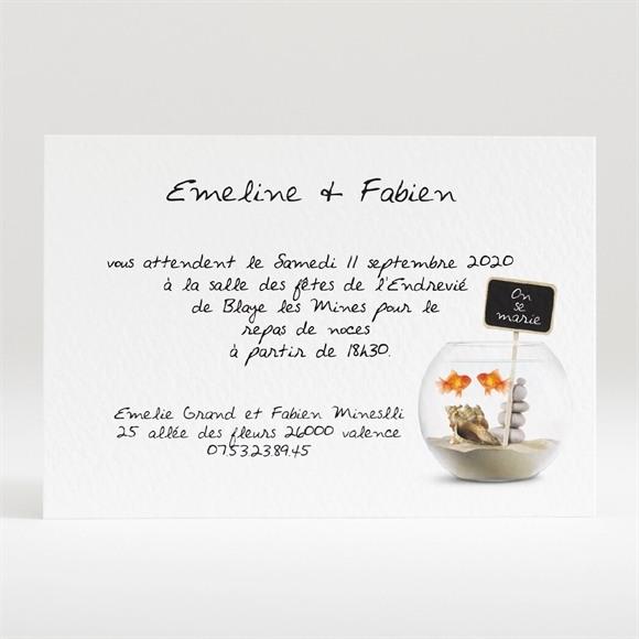 Carton d'invitation mariage Comme des poissons dans l'eau réf.N120109