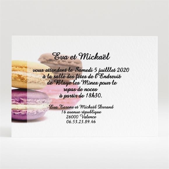 Carton d'invitation mariage Jolis macarons réf.N120113