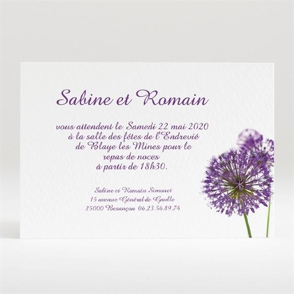 Carton d'invitation mariage Fleurs au vent réf.N120115