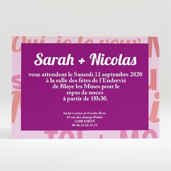Carton d'invitation mariage Gros coeur réf.N120112