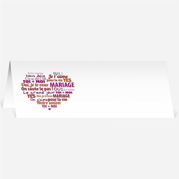 Marque-place mariage Gros coeur réf.N44033
