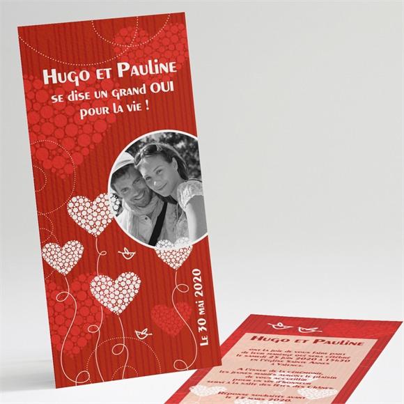 Faire-part mariage Rouge et romantique réf.N22107