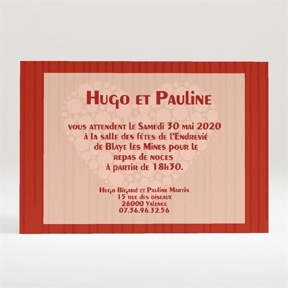 Carton d'invitation mariage Rouge et romantique réf.N120114