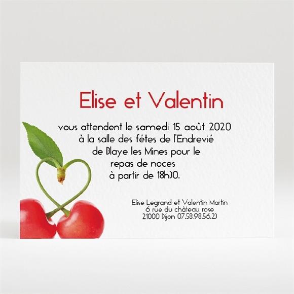Carton d'invitation mariage Jolie Cerise réf.N120123