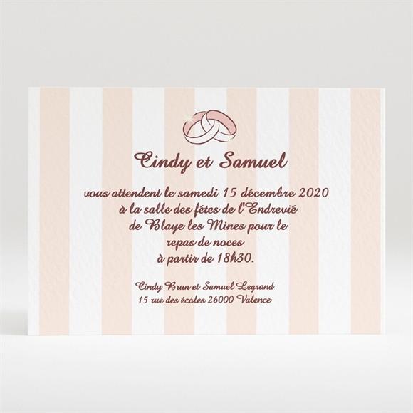 Carton d'invitation mariage Rayures blanches et beiges réf.N120133