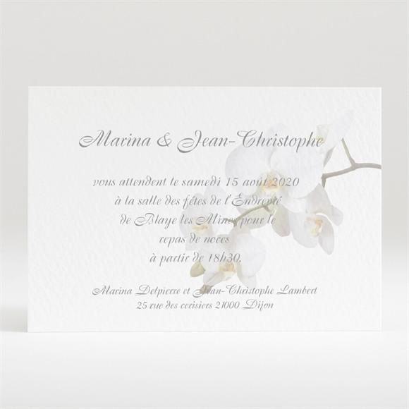 Carton d'invitation mariage Blanches orchidées réf.N120122