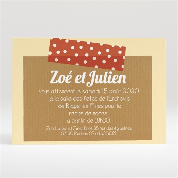 Carton d'invitation mariage Photos scotchées réf.N120129