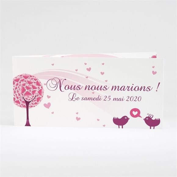 Faire-part mariage Oiseaux roses et violets réf.N43110