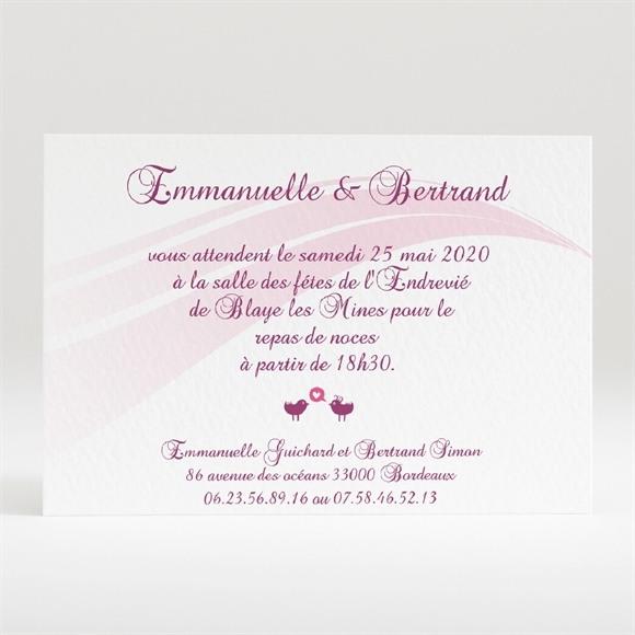 Carton d'invitation mariage Oiseaux roses et violets réf.N120137