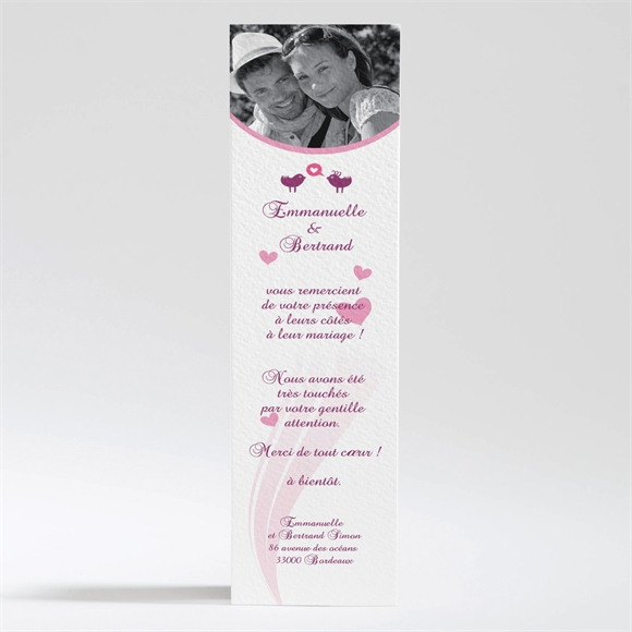 Remerciement mariage Oiseaux roses et violets réf.N20086