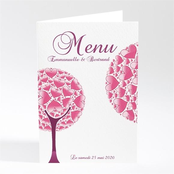 Menu mariage Oiseaux roses et violets réf.N40191