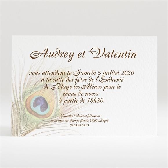 Carton d'invitation mariage Plume enchantée réf.N120139