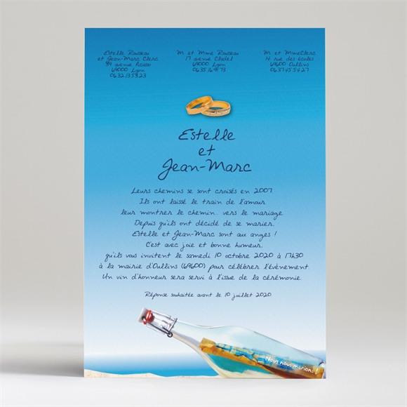 Faire-part mariage Une bouteille à la mer réf.N24007