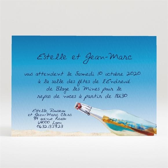 Carton d'invitation mariage Une bouteille à la mer réf.N120130